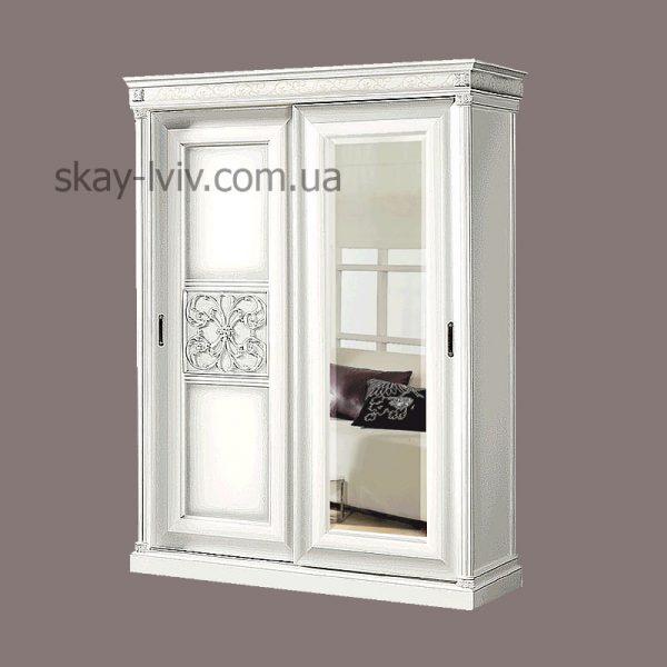 С-2 Шафа 2-х дверна з дзеркаломбілий/срібло