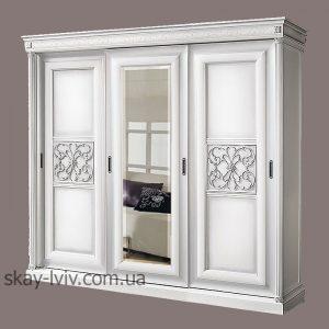 С-2 шафа 3-х дверна дзеркало білий/срібло